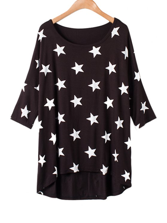shops Star Print Asymmetrical Half Sleeve T-Shirt - BLACK ONE SIZE(FIT SIZE XS TO M)