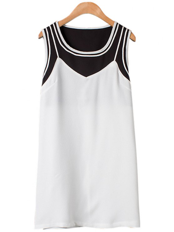sale Color Block Scoop Neck Sleeveless Dress - WHITE S