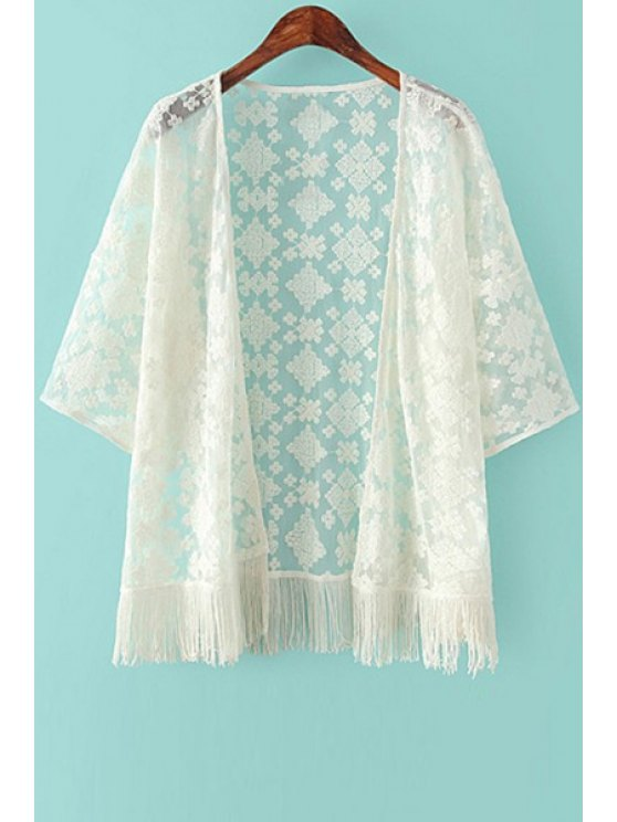 ladies Embroidery Tassels 3/4 Sleeve Kimono - BEIGE S