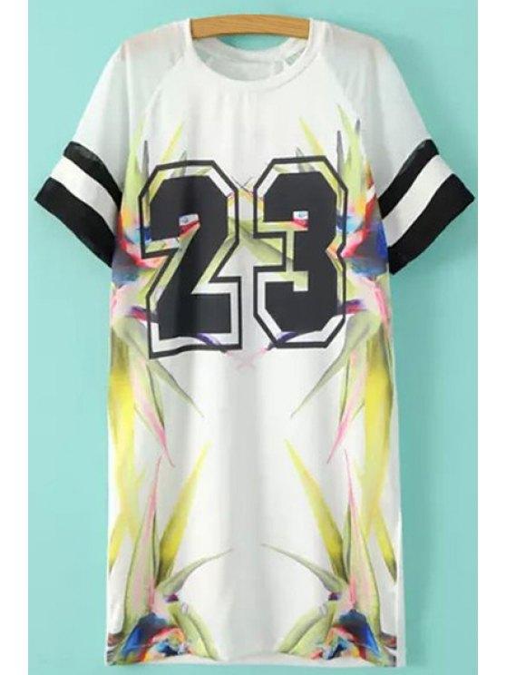 trendy Number Print Short Sleeves Dress - WHITE S