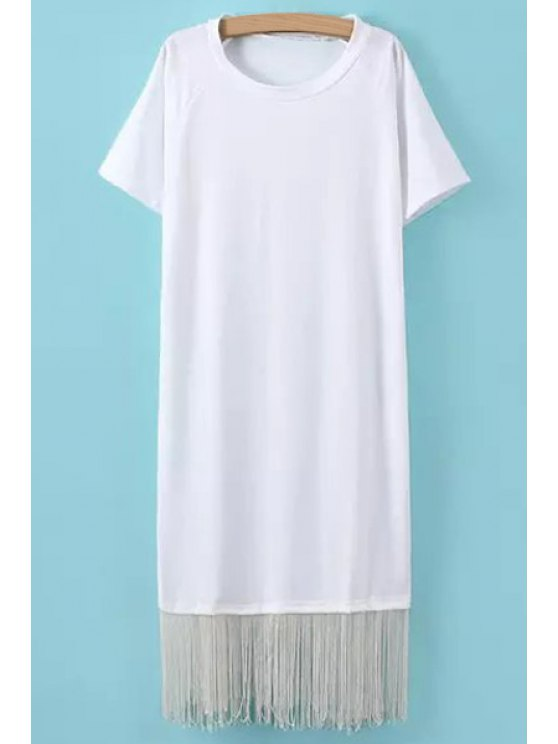 womens Solid Color Tassels Short Sleeve Dress - WHITE ONE SIZE(FIT SIZE XS TO M)
