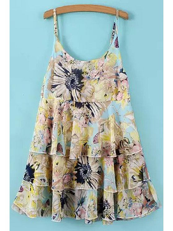 women Floral Spaghetti Straps Layered Dress - BLUE ONE SIZE(FIT SIZE XS TO M)