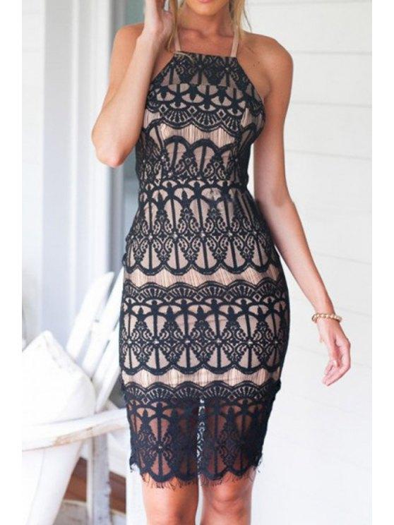 lady Back Cross Slit Openwork Sleeveless Dress - BLACK S