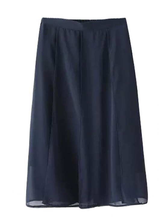 latest Solid Color A-Line Chiffon Skirt - PURPLISH BLUE ONE SIZE(FIT SIZE XS TO M)