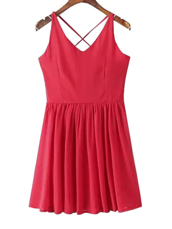 hot V-Neck Solid Color Sleeveless Dress - RED ONE SIZE(FIT SIZE XS TO M)