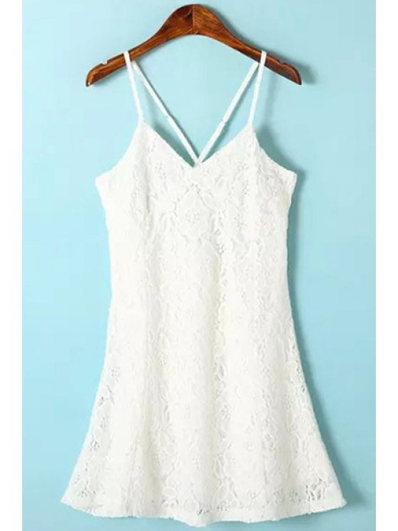 chic Spaghetti Strap Solid Color Lace Sleeveless Dress - WHITE S