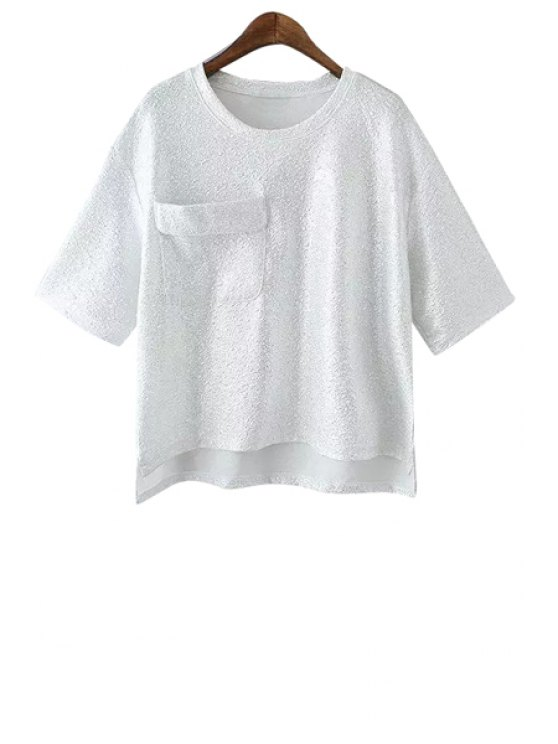 shop Solid Color Pocket Half Sleeve T-Shirt - WHITE ONE SIZE(FIT SIZE XS TO M)
