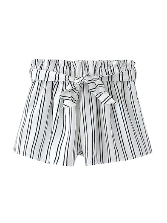 best Stripe Elastic Waist Shorts - WHITE M