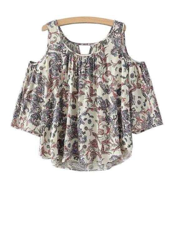 womens Floral Print Off-The-Shoulder Short Sleeve T-Shirt - COLORMIX S