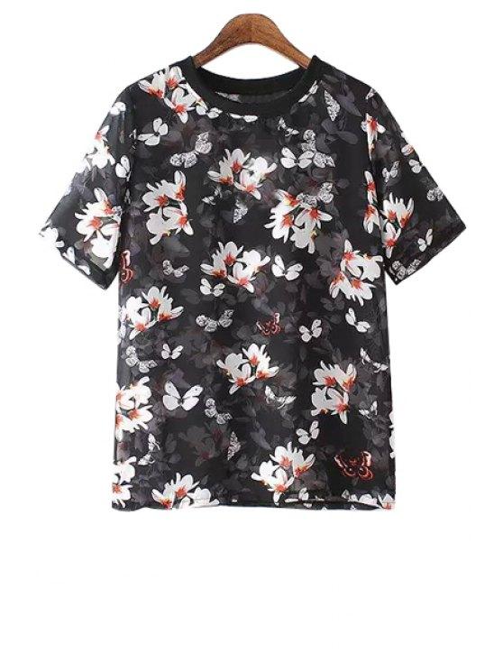 shops Floral Short Sleeves Chiffon T-Shirt - BLACK M