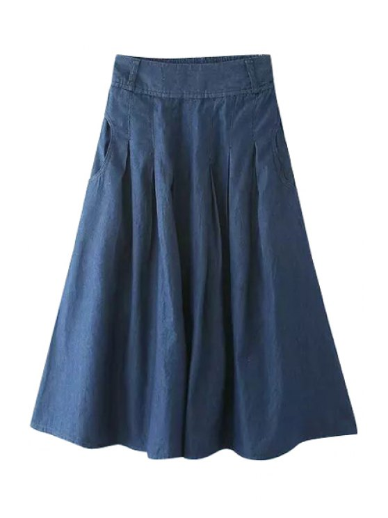 unique Denim Solid Color A-Line Skirt - DEEP BLUE M