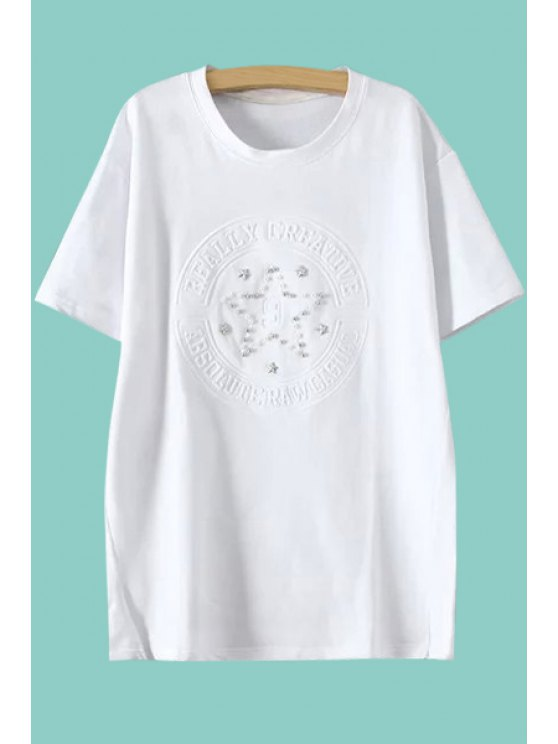 ladies Star Pattern Faux Pearl T-Shirt - WHITE M