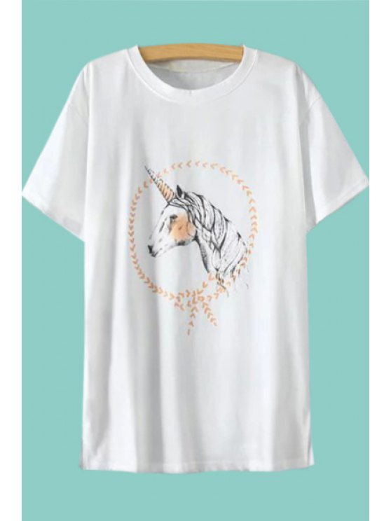 best Horse Print Side Slit T-Shirt - WHITE M