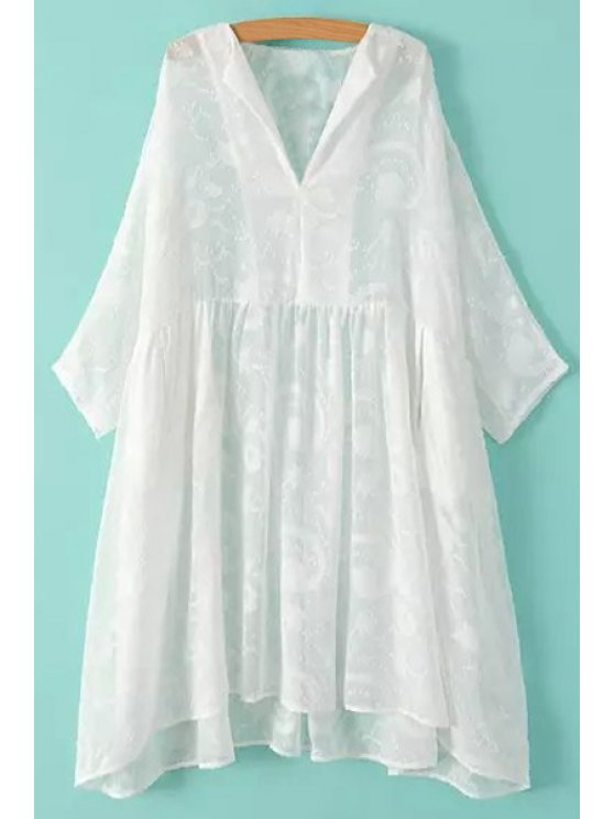 chic Solid Color Loose-Fitting 3/4 Sleeve Dress - WHITE ONE SIZE(FIT SIZE XS TO M)