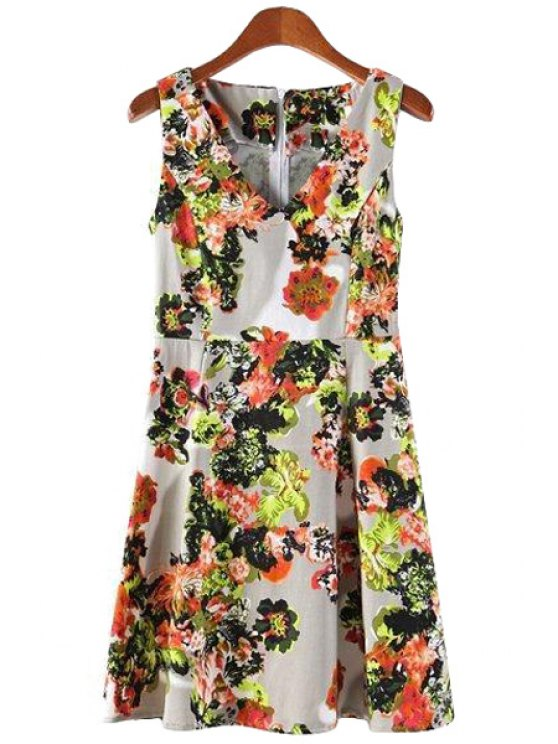 fashion V-Neck Floral Print Ruffle Dress - COLORMIX M