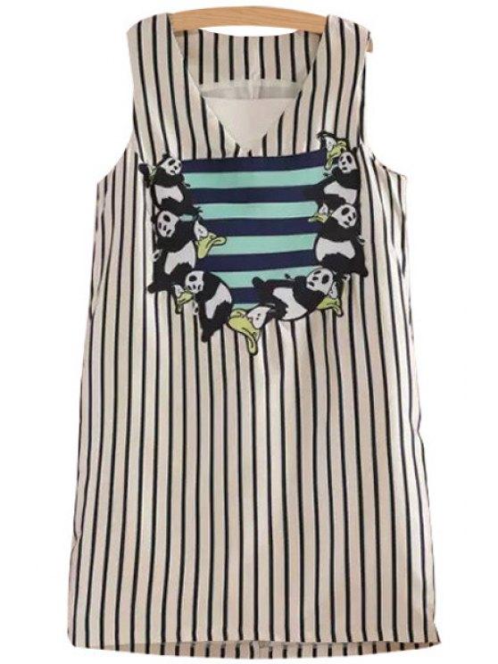 outfits Panda Applique Stripe Sleeveless Dress - COLORMIX M