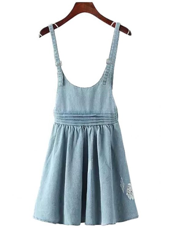 lady Bleach Wash Destroy Denim Ruffle Dress - BLUE ONE SIZE(FIT SIZE XS TO M)