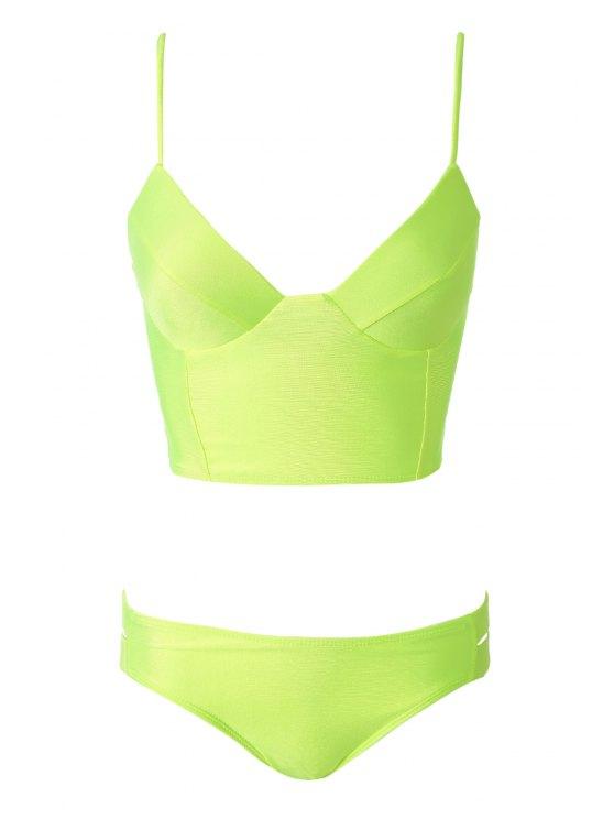 latest Cami Midi Bikini Top and Bottoms - NEON GREEN S