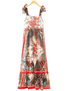 Floral Lace-Up Straps Maxi Dress - Red S