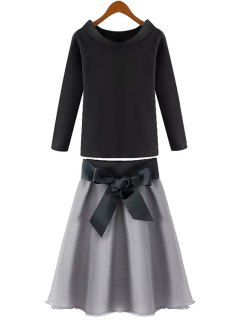 Solid Color Long Sleeve T-Shirt + Tie-Up Chiffon Skirt - Black And Grey Xl