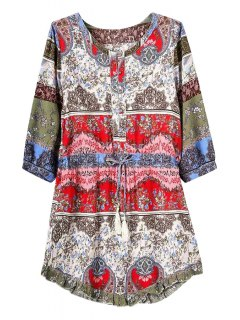Color Block Print Tie-Up 3/4 Sleeve Dress - Red S