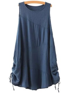 Jewel Neck Solid Color Ruffle Tie-Up Dress - Blue