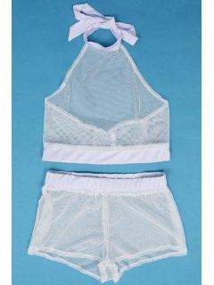 Halter Neck See-Through Tank Top + Shorts - White L