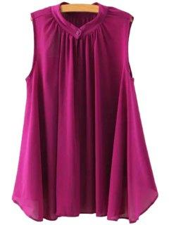 Ruffle Solid Color Asymmetrical Sleeveless Shirt - Purple M