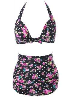 Floral Halter High Waisted Bikini Set - Black 2xl