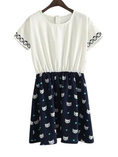 Cat Print Color Block Short Sleeve Dress - White And Black M