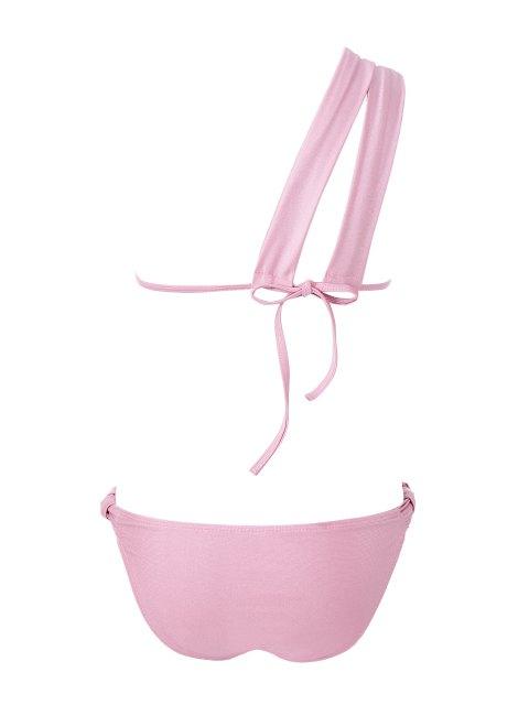 Solide Couleur une épaule Bikini - ROSE PÂLE L Mobile