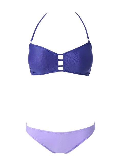 outfit Openwork Bandage Bikini Set - PURPLE M Mobile