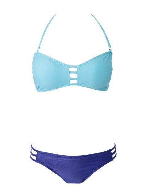 outfit Openwork Bandage Bikini Set - GREEN S Mobile