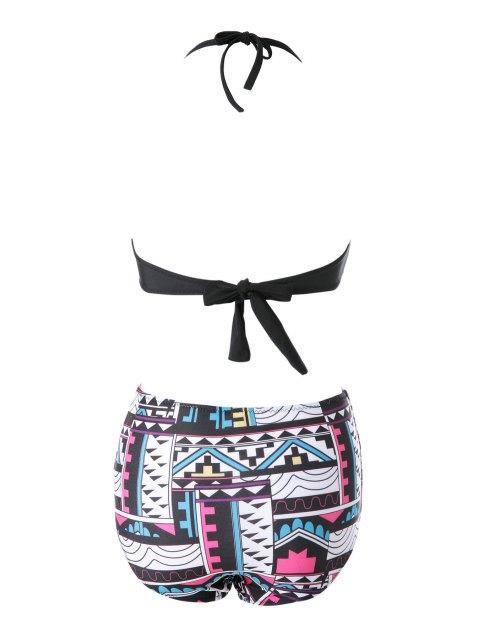 women's Print High Waisted Bikini Set - BLACK L Mobile