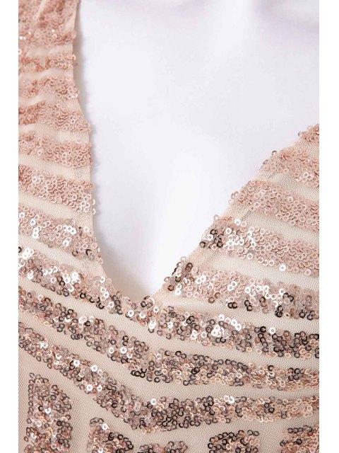 new Plunging Neck Sequins Dress - GOLDEN S Mobile