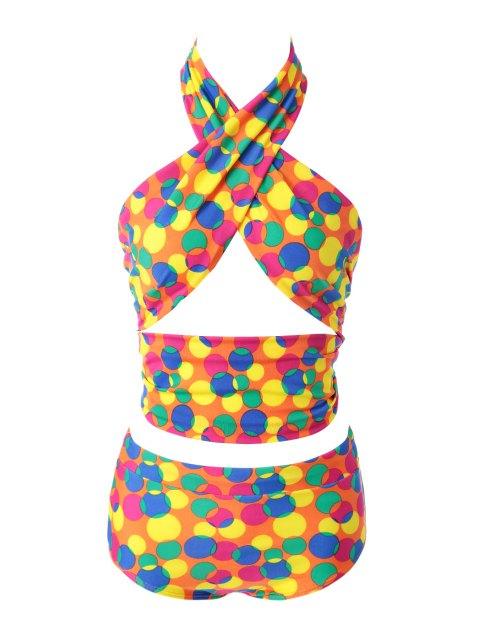 fancy Colorful Polka Dot Bikini Set - 12# XL Mobile
