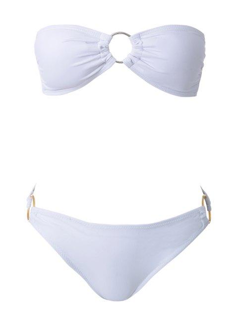 outfits Solid Color Splicing Bikini - WHITE S Mobile