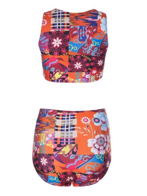 hot Flower Print High Waisted Bikini Set - COLORMIX M Mobile