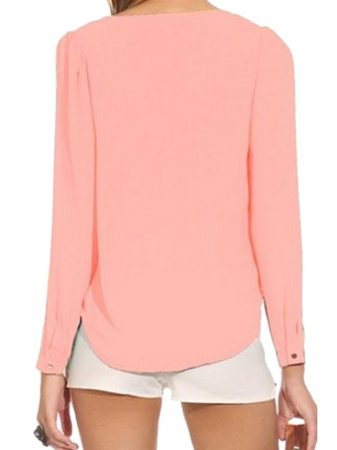 ladies Solid Color Plunging Neck Zipper Blouse - PINK S Mobile
