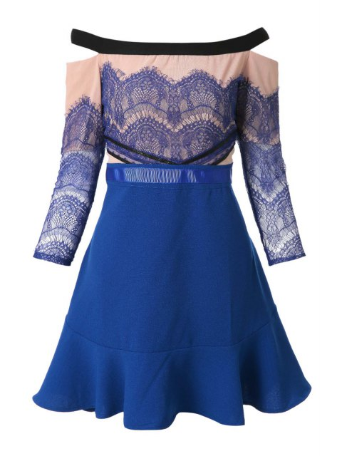 chic Slash Neck Lace Splicing Flounce Dress - BLUE L Mobile