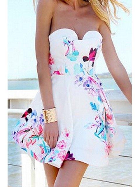 best Strapless Floral Print Dress - WHITE M Mobile