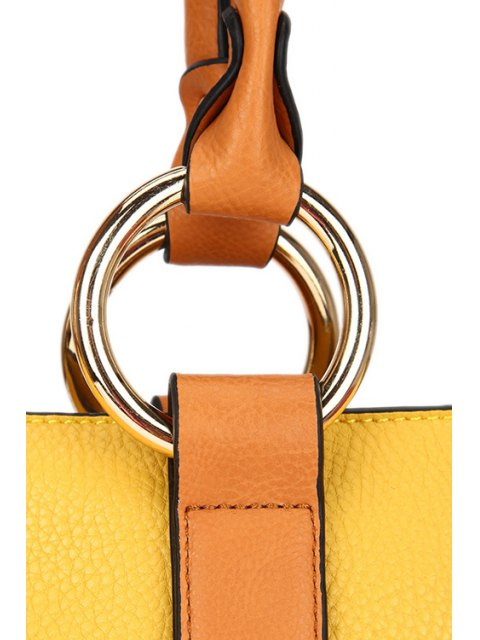 outfit Color Block Rhings Shoulder Bag - WHITE  Mobile