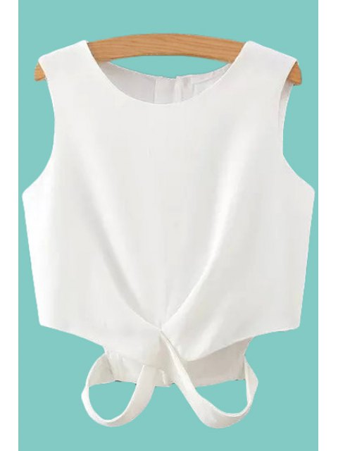 outfit Solid Color Cut Out Tank Top - WHITE M Mobile