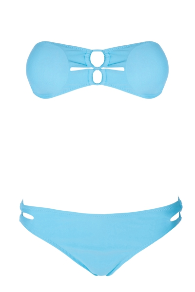 Solid Color Cross Openwork Bikini Set