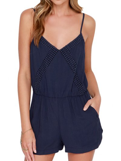 Navy Spaghetti Strap Backless Romper - Blue M