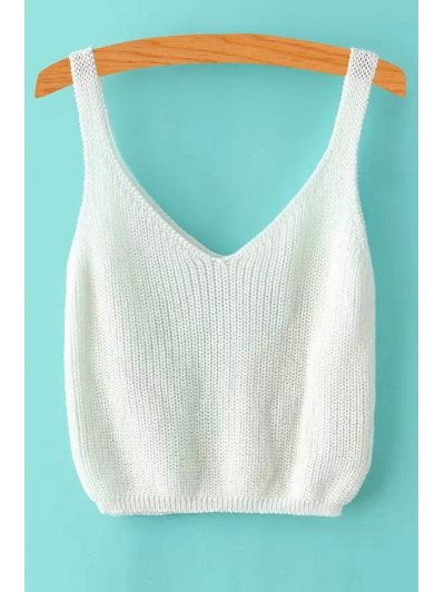 V Neck Solid Color Sleeveless Knitted Tank Top