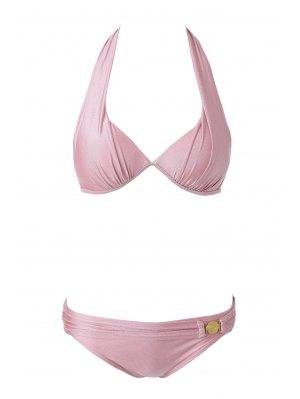Pink Halterneck Bikini Set - Pink