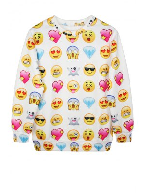 Emoji Print Long Sleeve Sweatshirt - White
