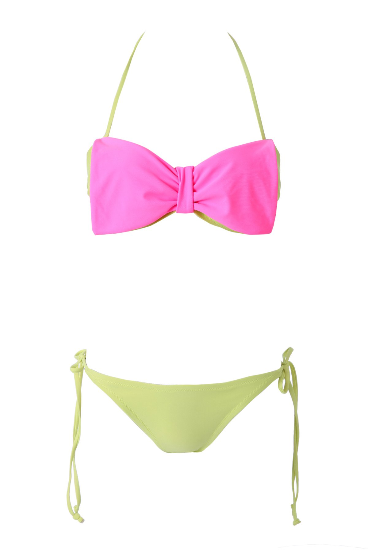 Bowknot Strapless Color Block Bikini Set - RED/GREEN S