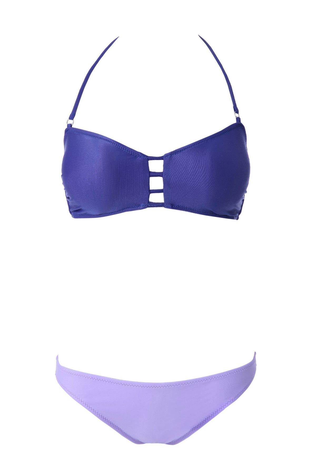 Openwork Bandage Color Block Bikini Set